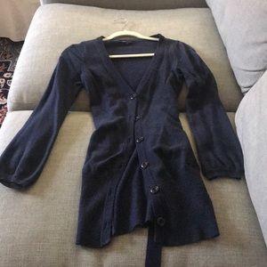 BCBG angora/wool blend gathered cardigan (S)